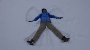 Snow angel fun on a recent trip to Norway