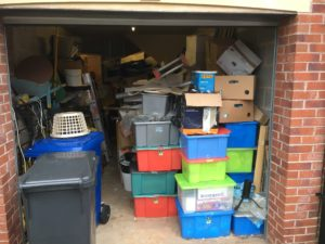 The garage in need of decluttering