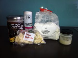 The items I use to make my natural deodorant. The jar itself is on the right of the picture.